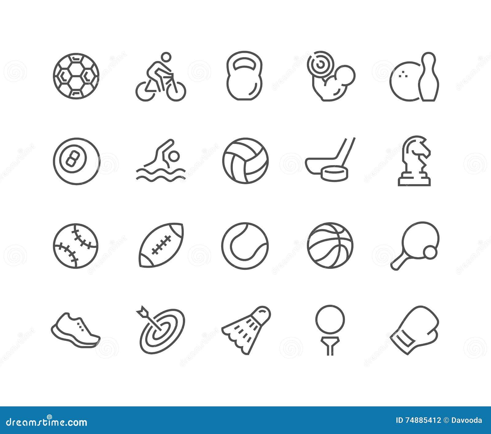 Linha ícones do equipamento de esporte
