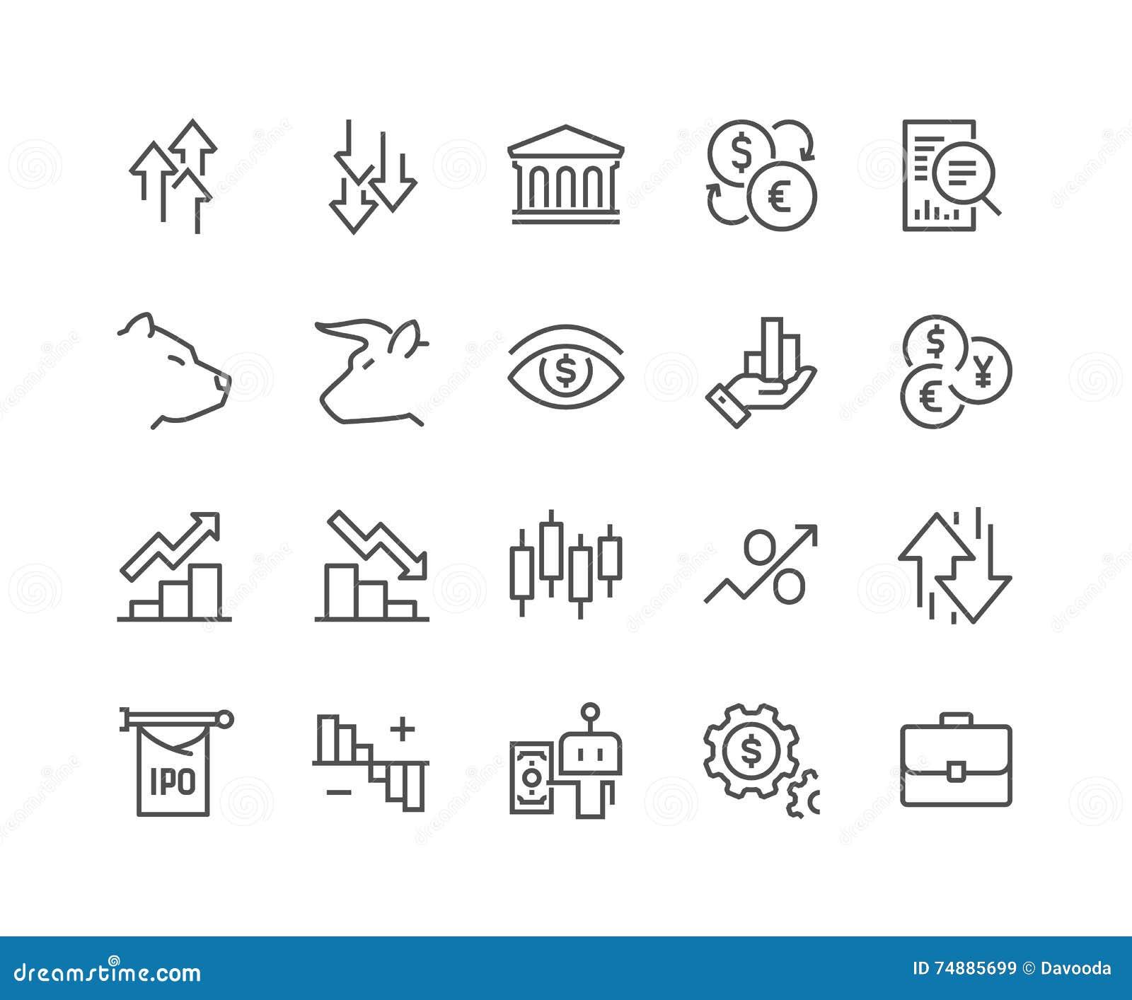 Linha ícones do mercado de valores de ação