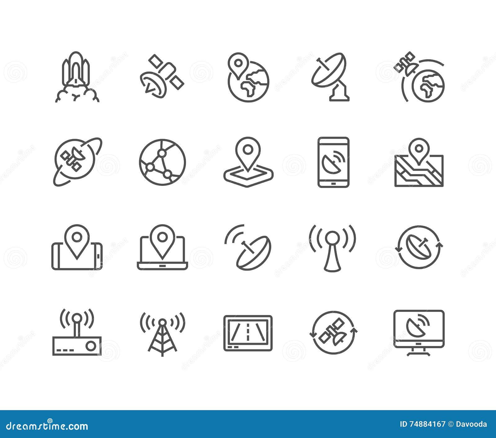 Linha ícones do satélite