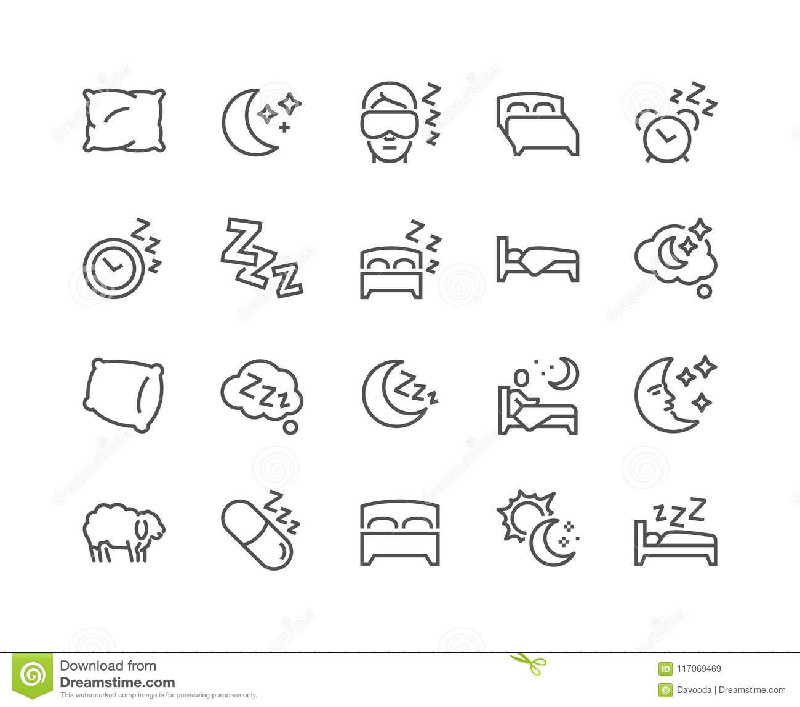 Linha ícones do sono