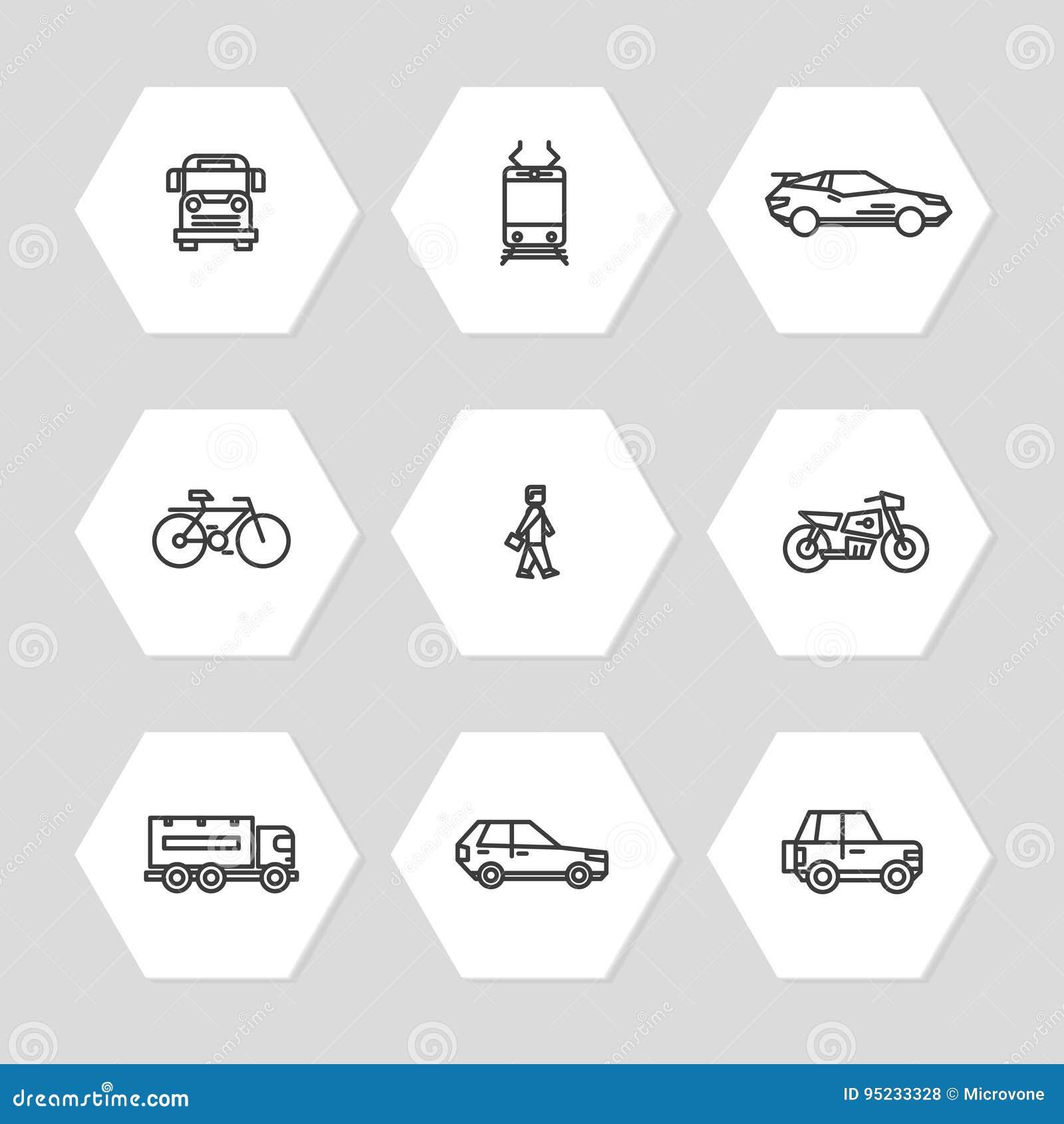 Linha ícones do transporte da cidade ajustados - carros, trem, ícones do ônibus