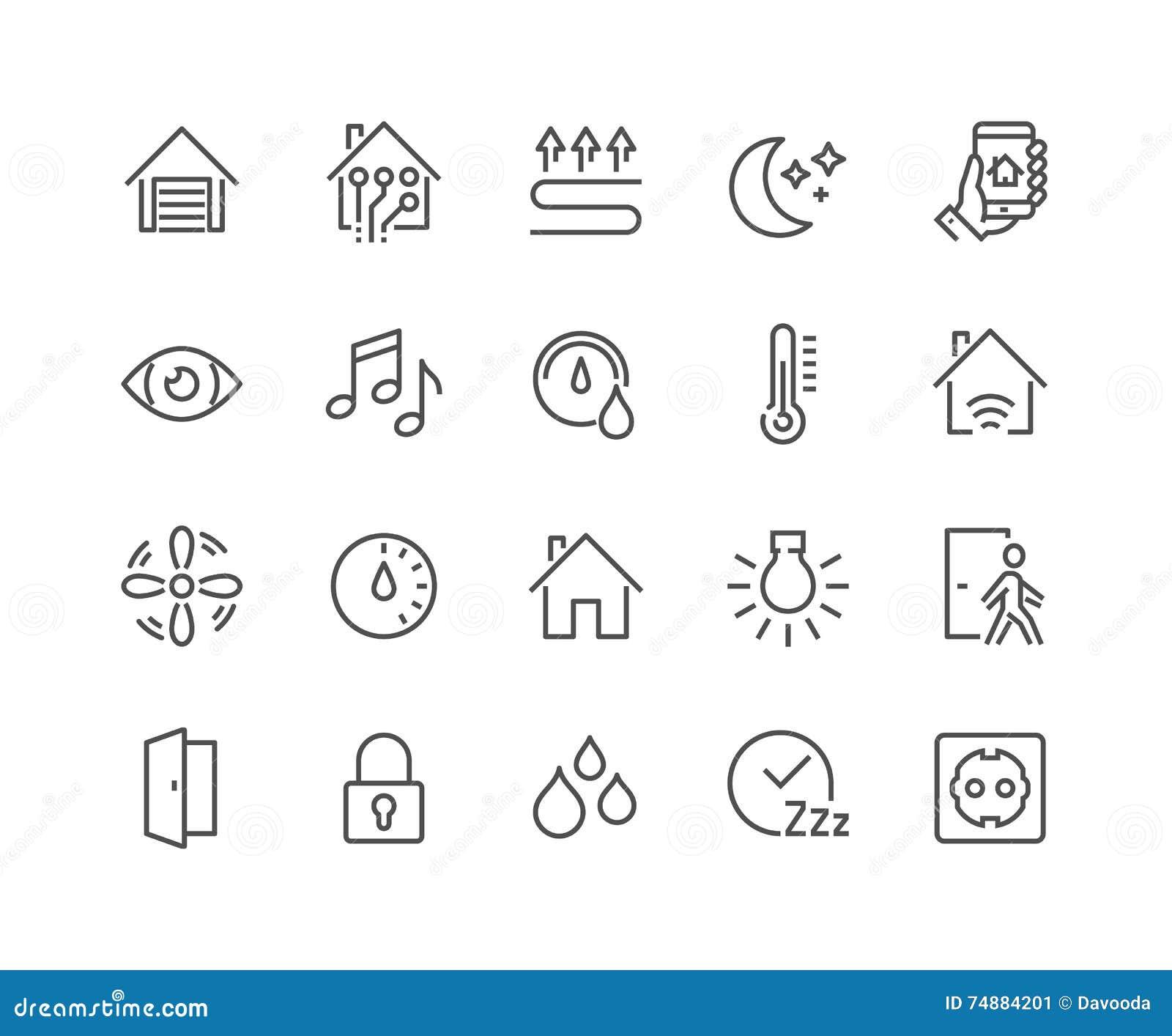 Linha ícones espertos da casa
