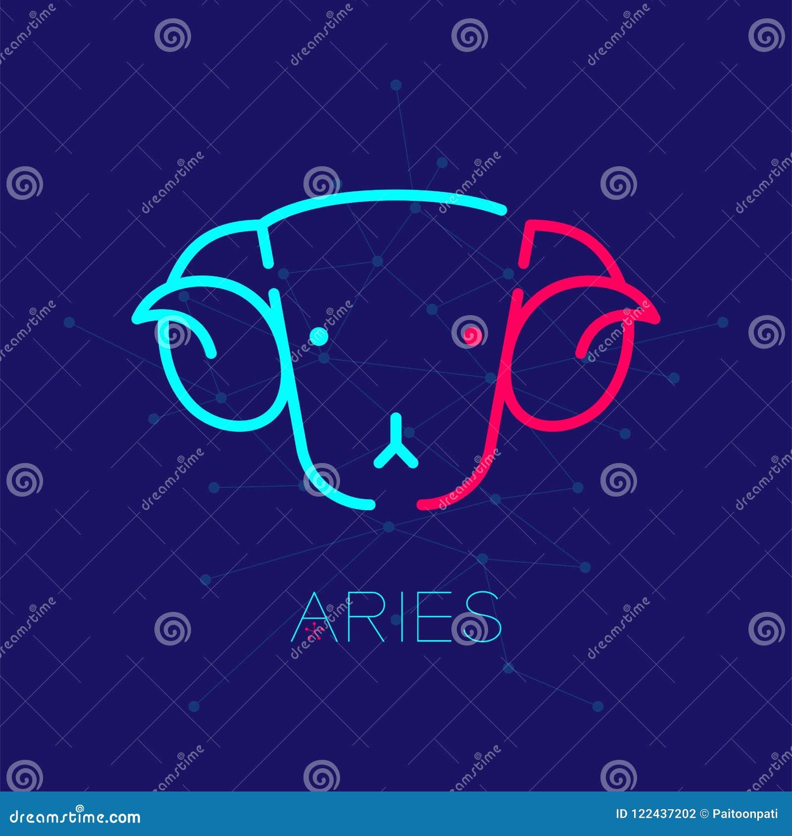 Linha ajustada ilustração do traço do curso do esboço do ícone do logotipo da constelação de Aries Zodiac do projeto