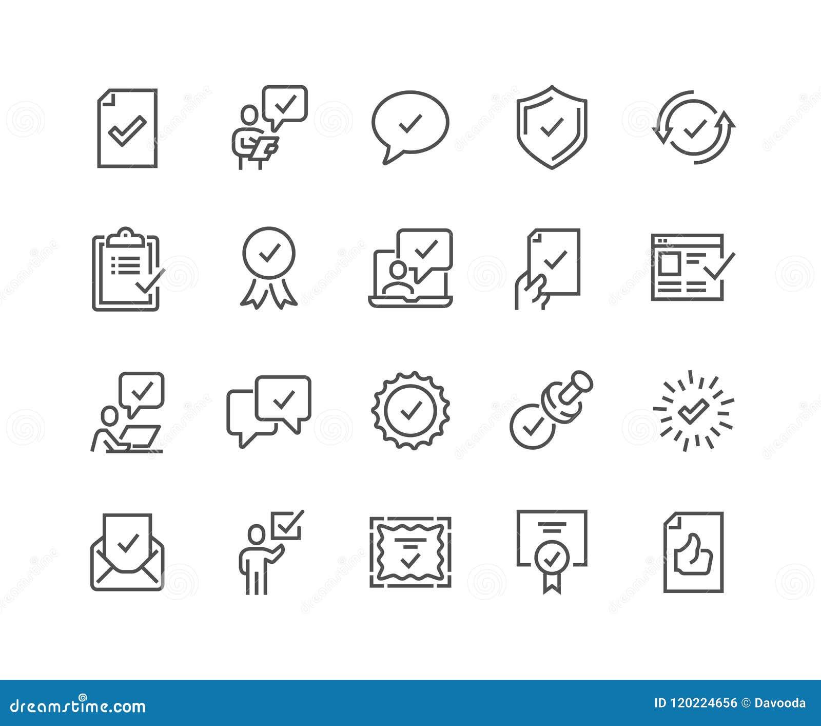 A linha aprova ícones