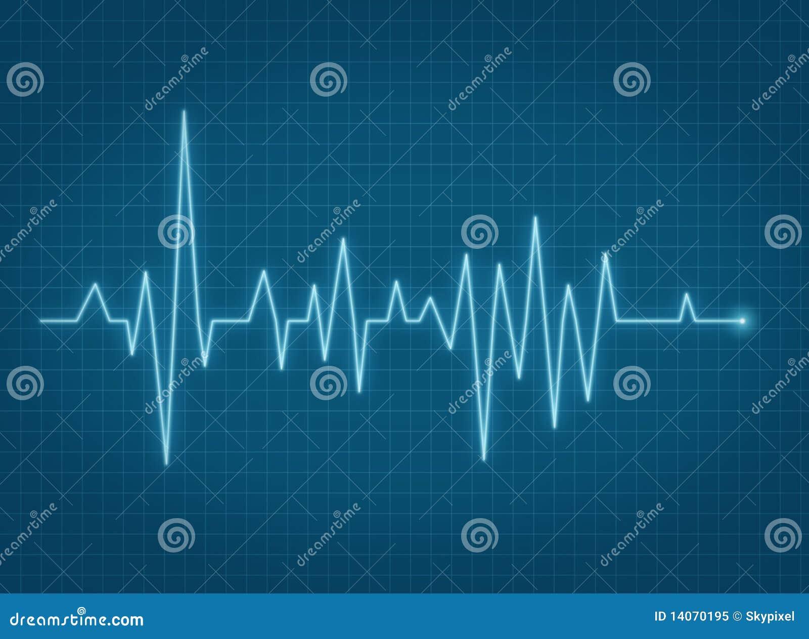 Linha azul da pulsação do coração do pulso de ECG
