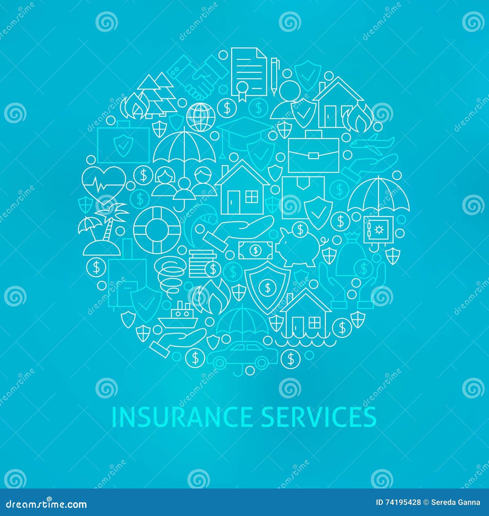 Linha círculo dos ícones dos serviços de seguro