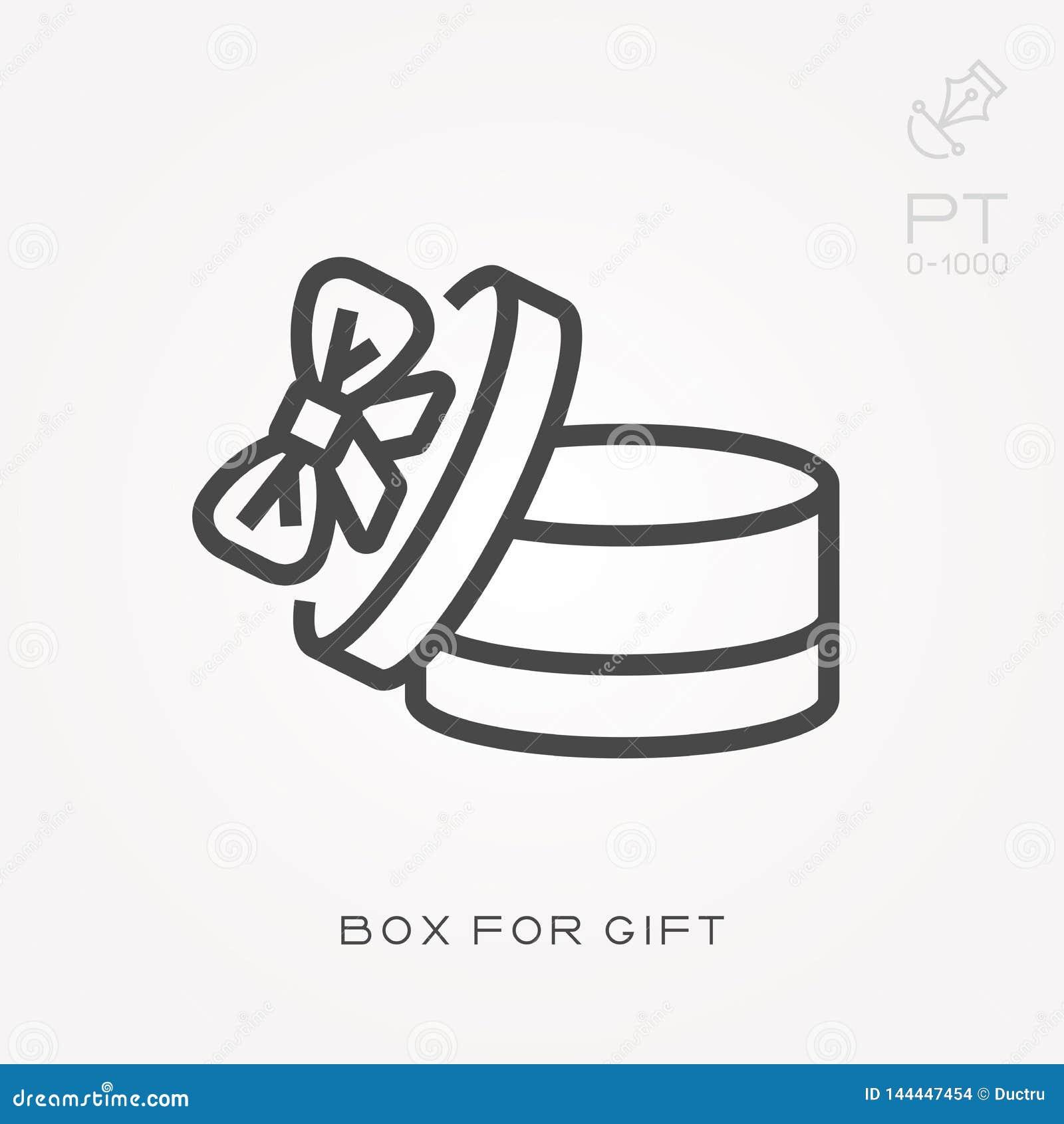 Linha caixa de ícone para o presente