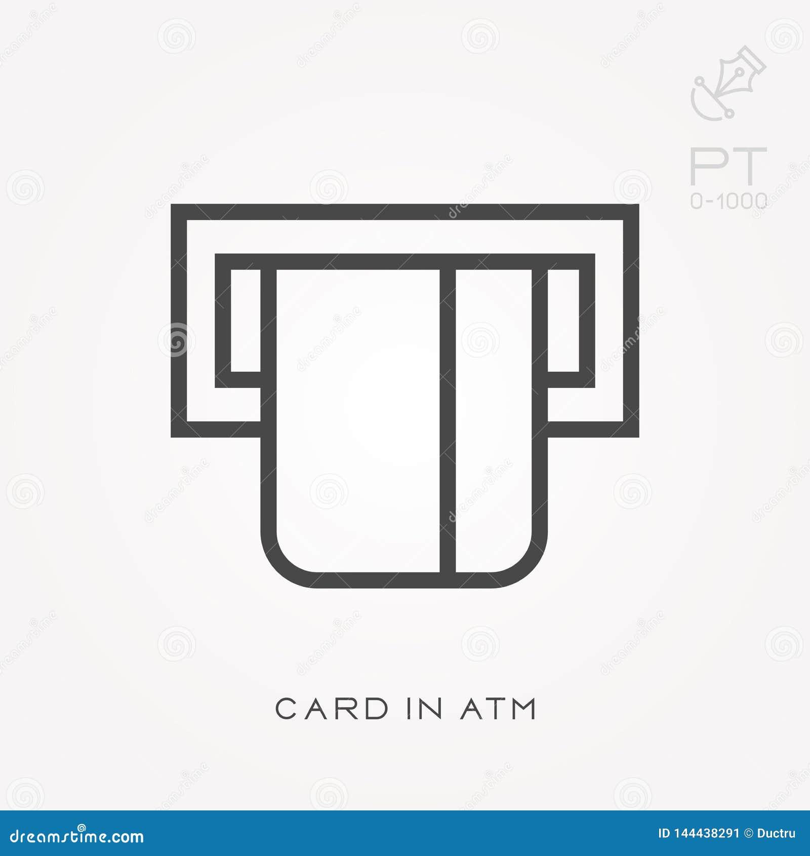 Linha cartão do ícone no ATM