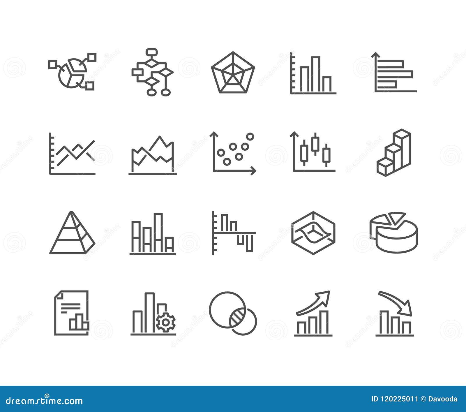 Linha cartas e ícones dos diagramas