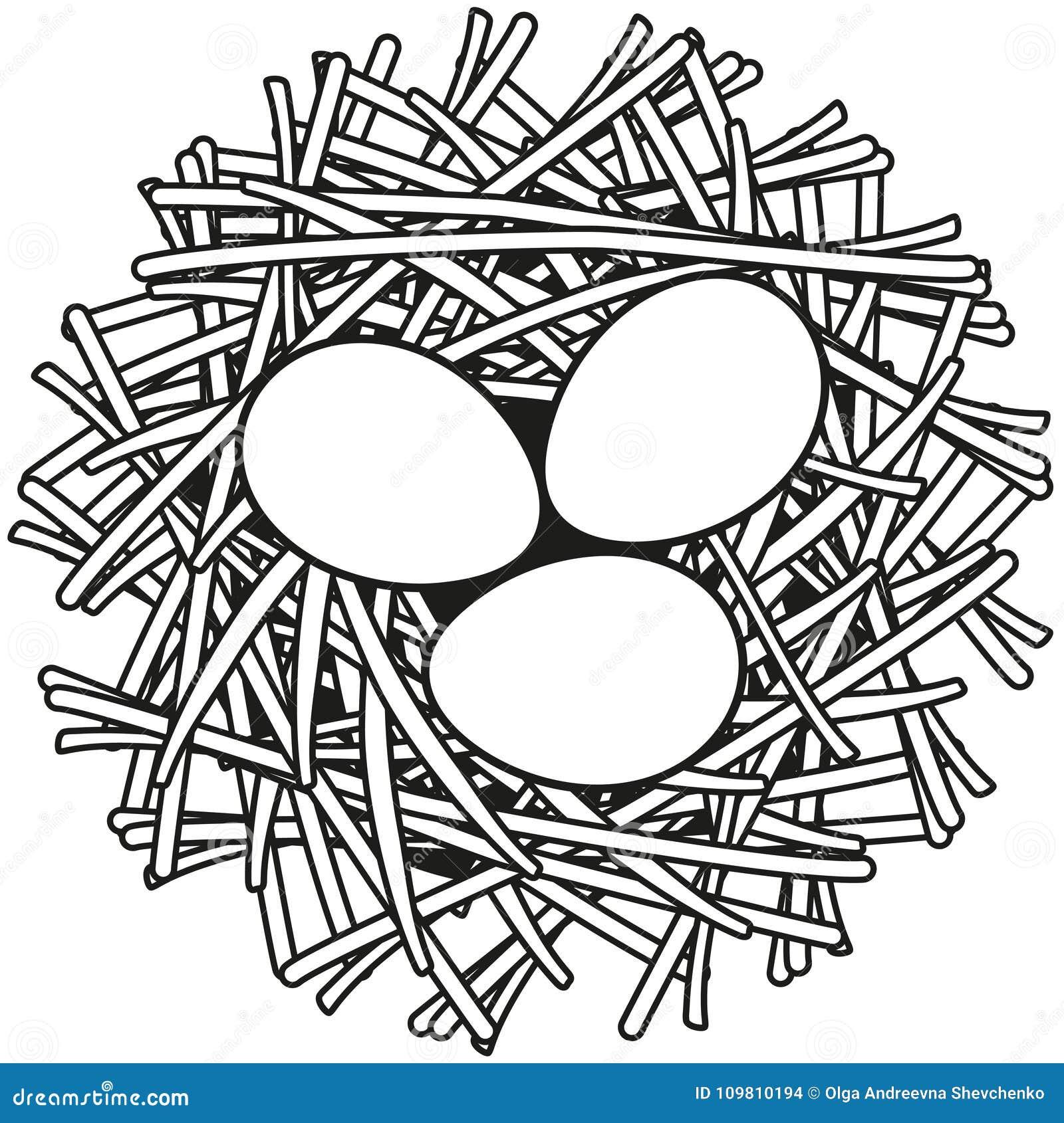 A Galinha Dos Ovo De Ouro Para Colorir linha cartaz preto e branco do ícone do ninho do ovo da arte