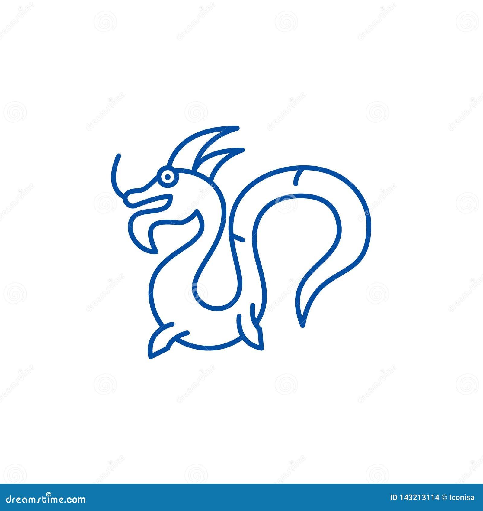 Linha chinesa conceito do dragão do ícone Símbolo liso do vetor do dragão chinês, sinal, ilustração do esboço