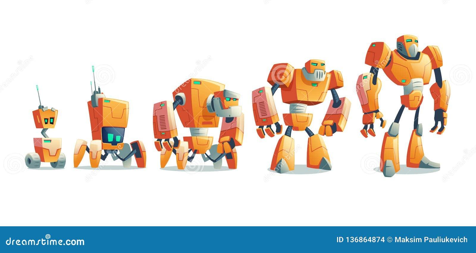 Linha conceito da evolução dos robôs do vetor dos desenhos animados