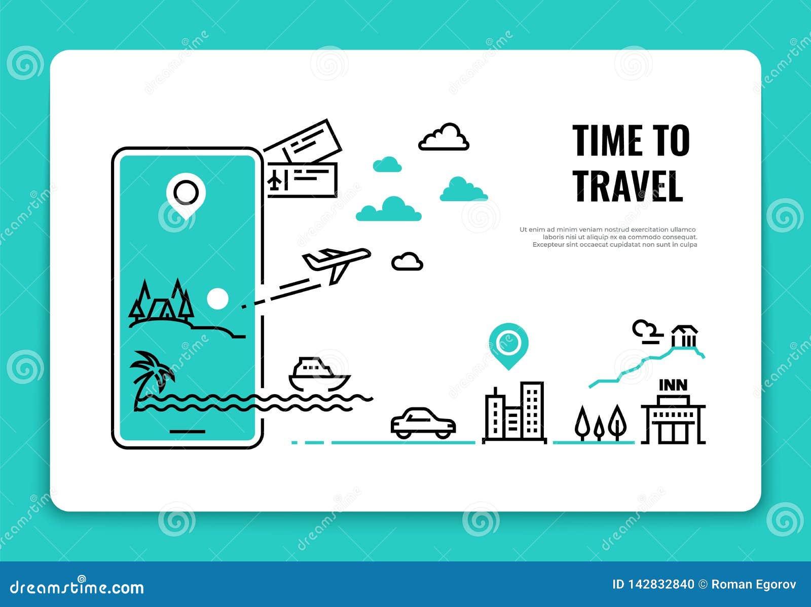 Linha conceito do turismo Conceito da rota do avião do Web site do hotel da agência de viagem das férias de verão do destino do c