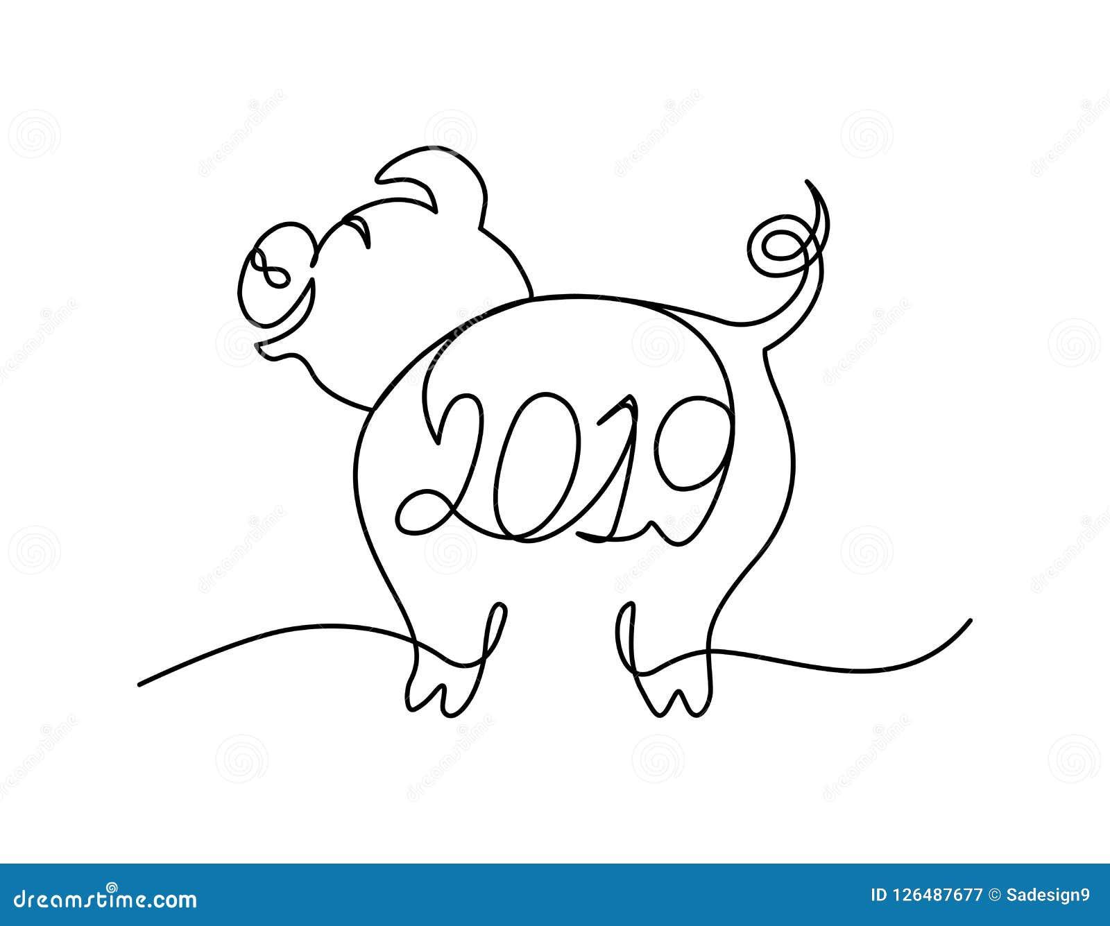 Linha contínua caráter do porco engraçado com rotulação 2019 Conceito do Feliz Natal
