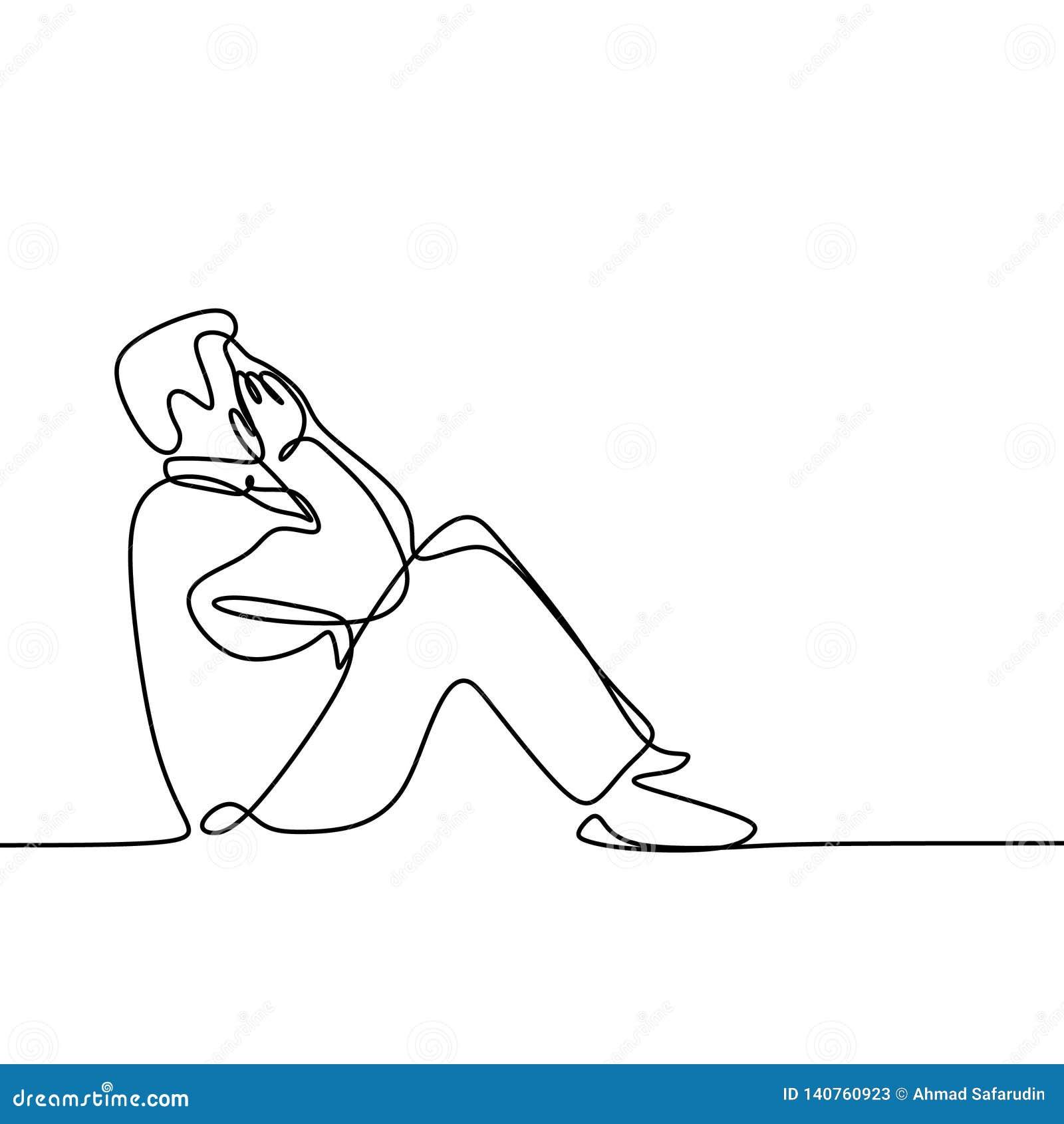 Linha Contínua Ilustração Da Depressão Triste Do Sentimento