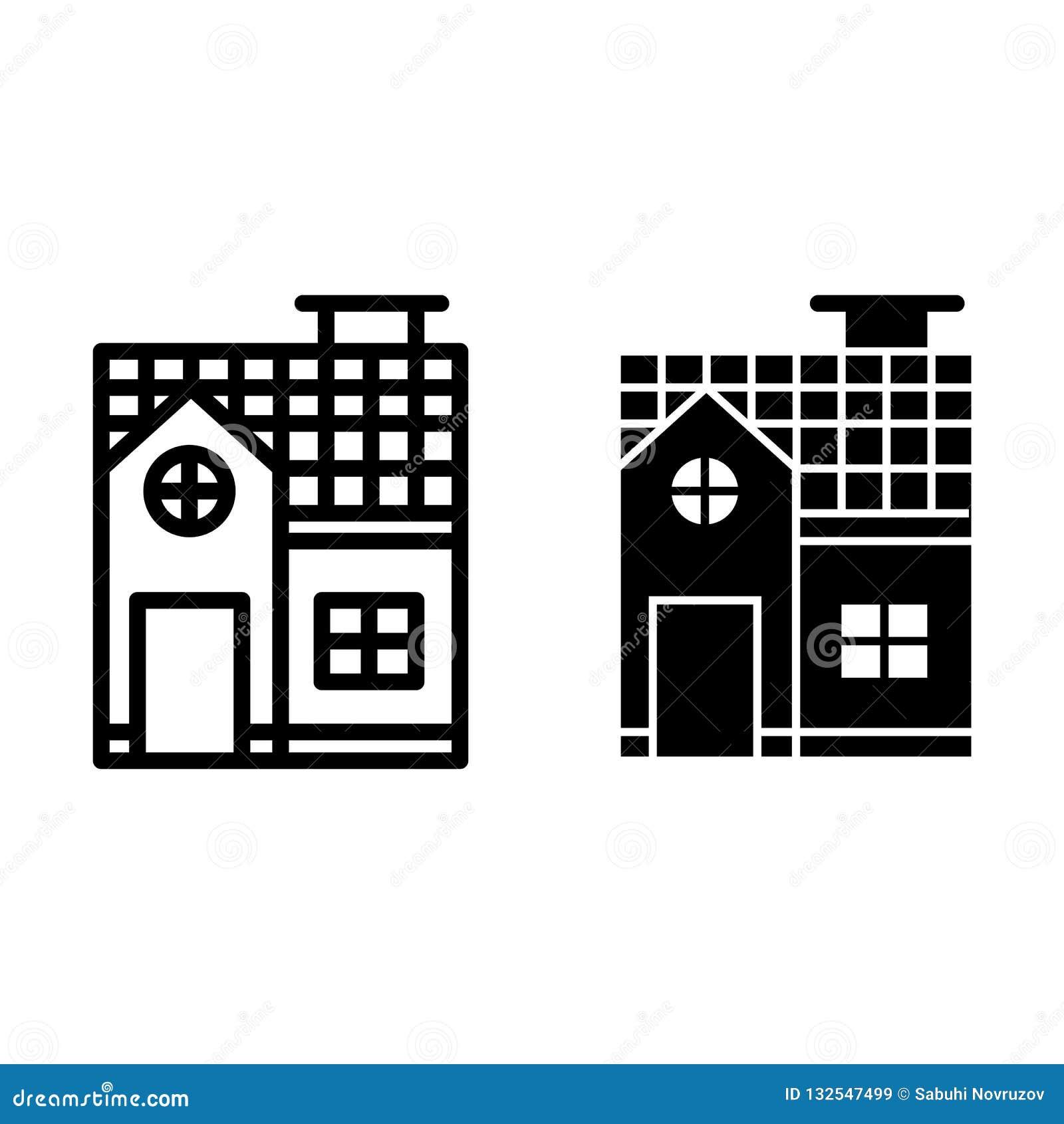 Linha da casa da Dois-história e ícone do glyph Ilustração pequena do vetor da casa de campo isolada no branco Estilo do esboço d