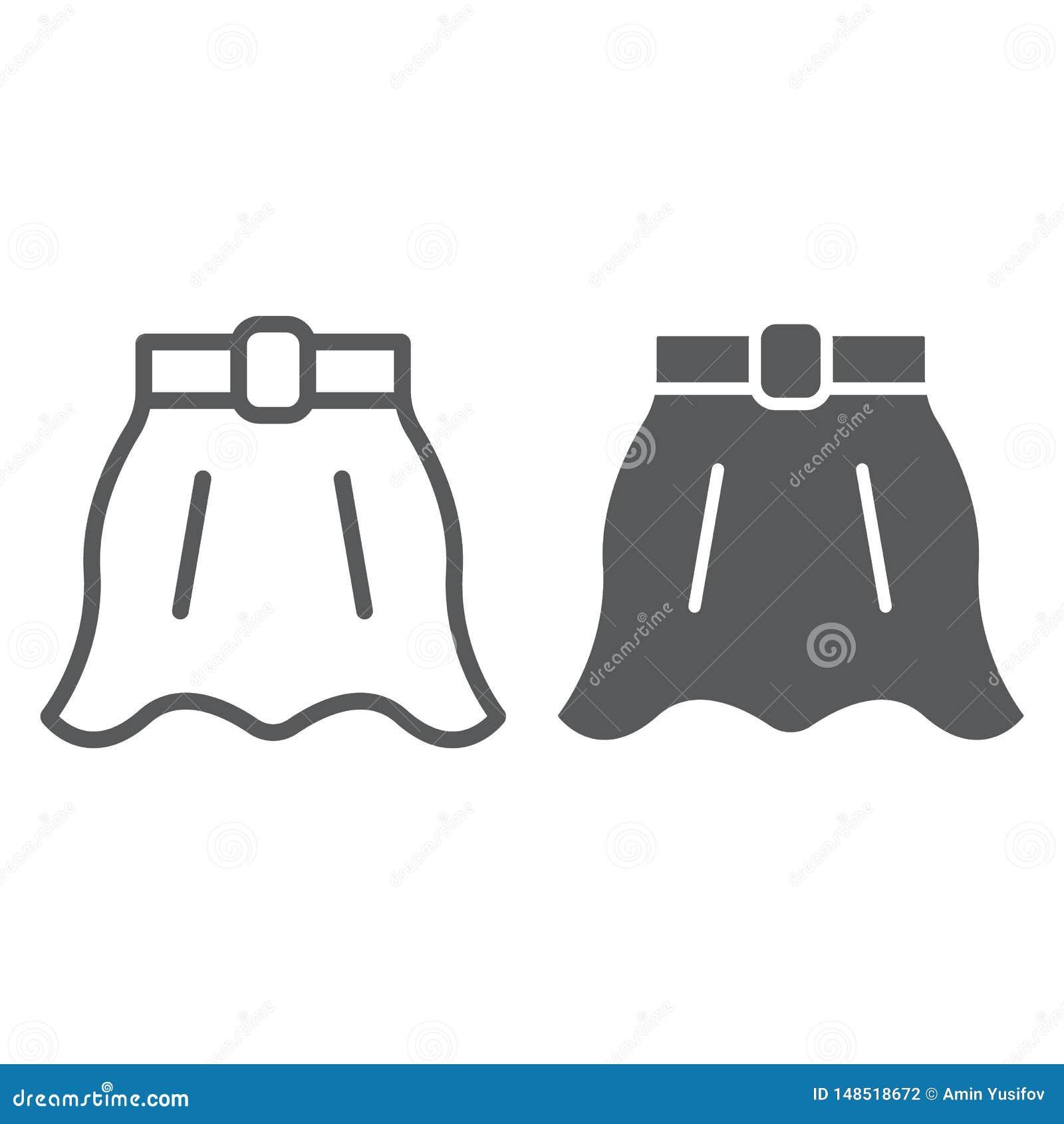 Linha da saia e ícone do glyph, roupa e fêmea, sinal alargado da saia, gráficos de vetor, um teste padrão linear em um branco