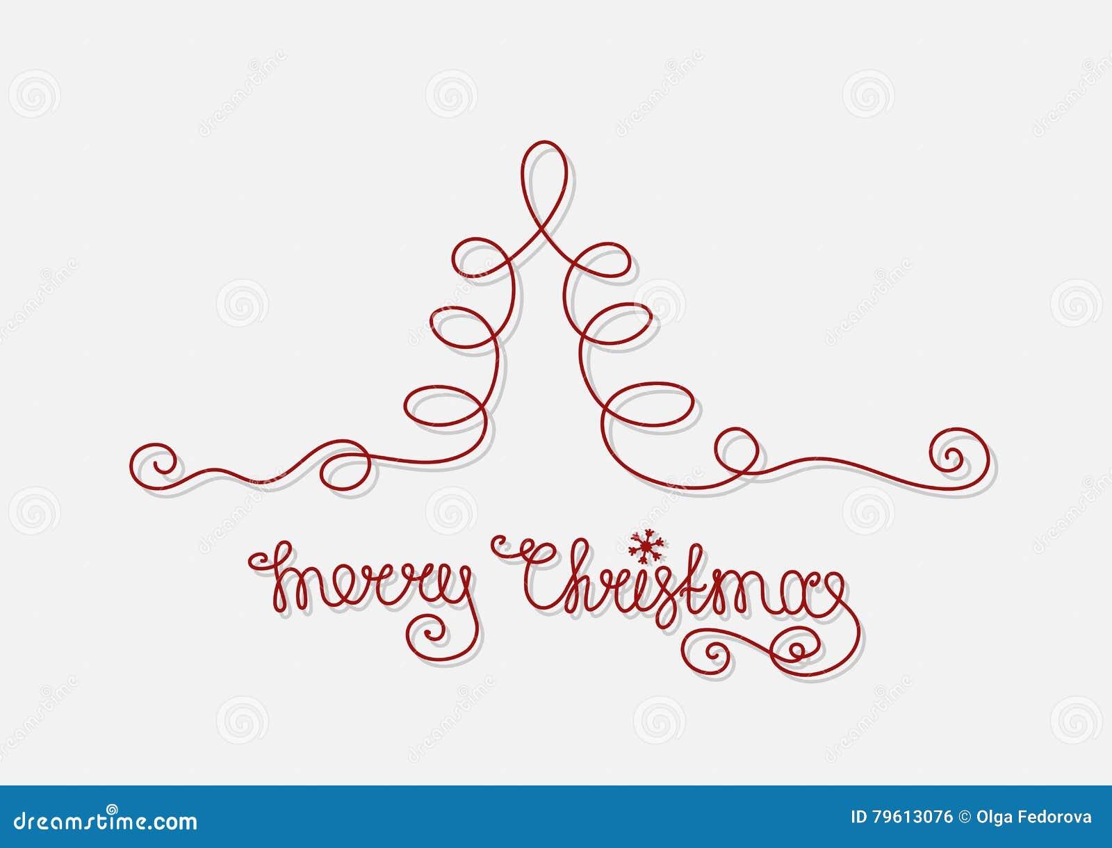 Linha de árvore do Natal do cartão