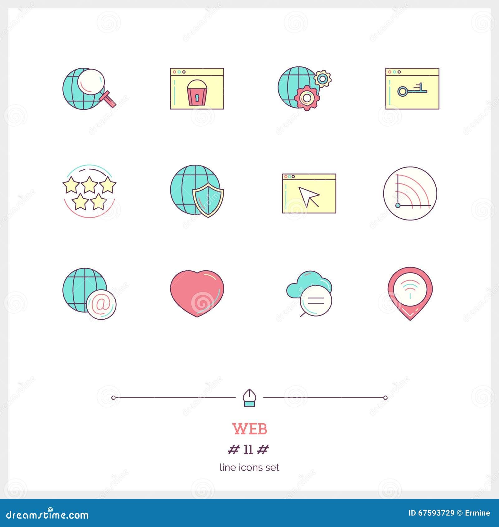 Linha de cor grupo do ícone da conexão, de objetos e do elem globais das ferramentas