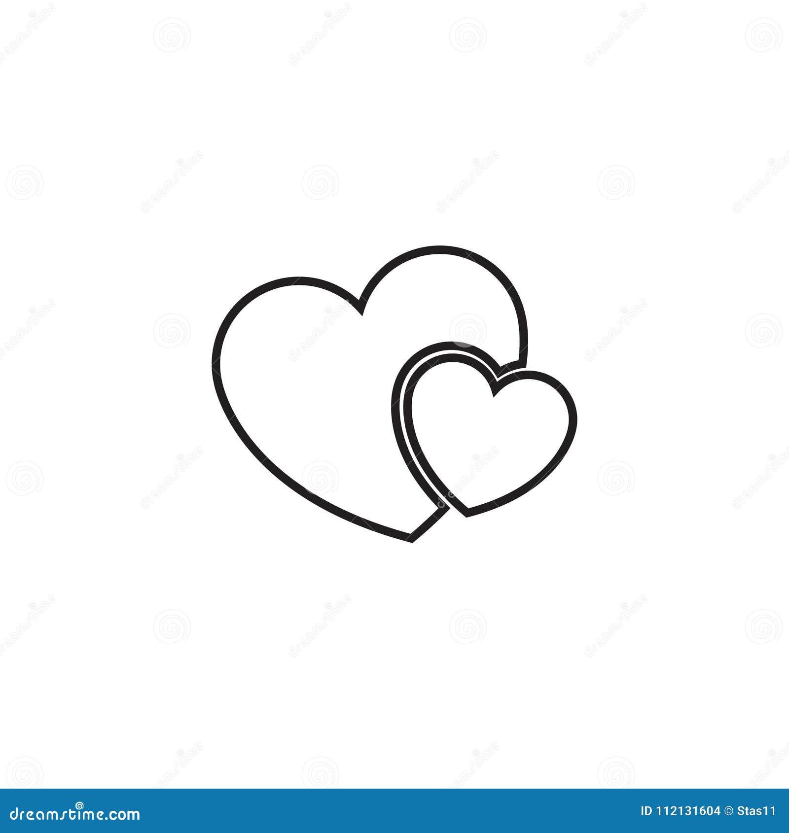 Linha de dois corações ícone - vector o símbolo do coração ou o sinal simples do amor Elemento linear do logotipo para o casament