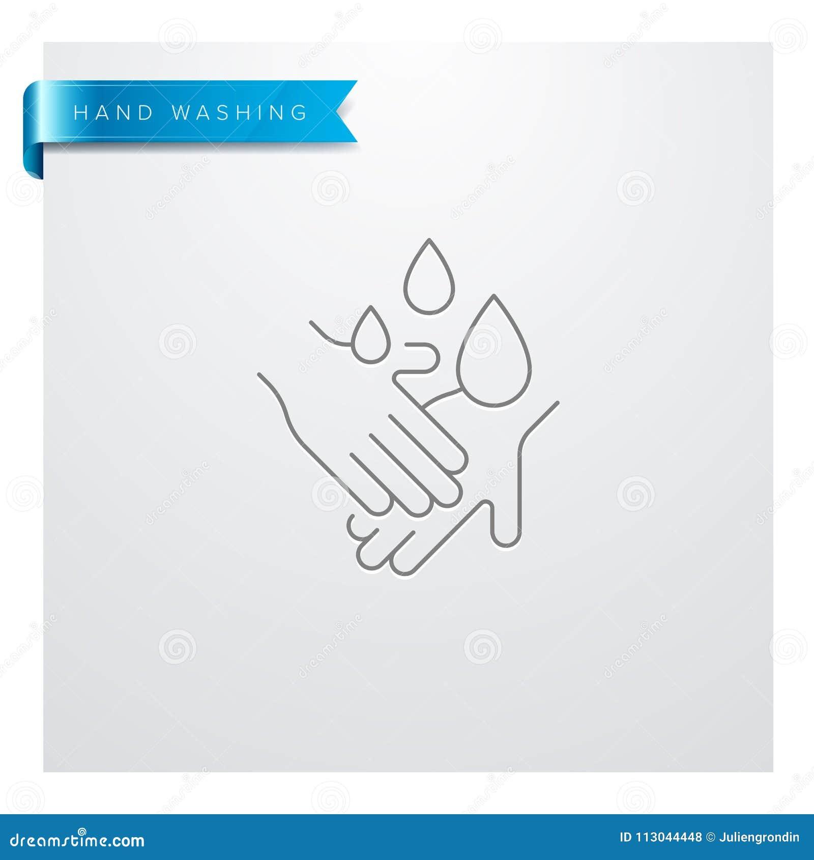 Linha de lavagem ícone da mão