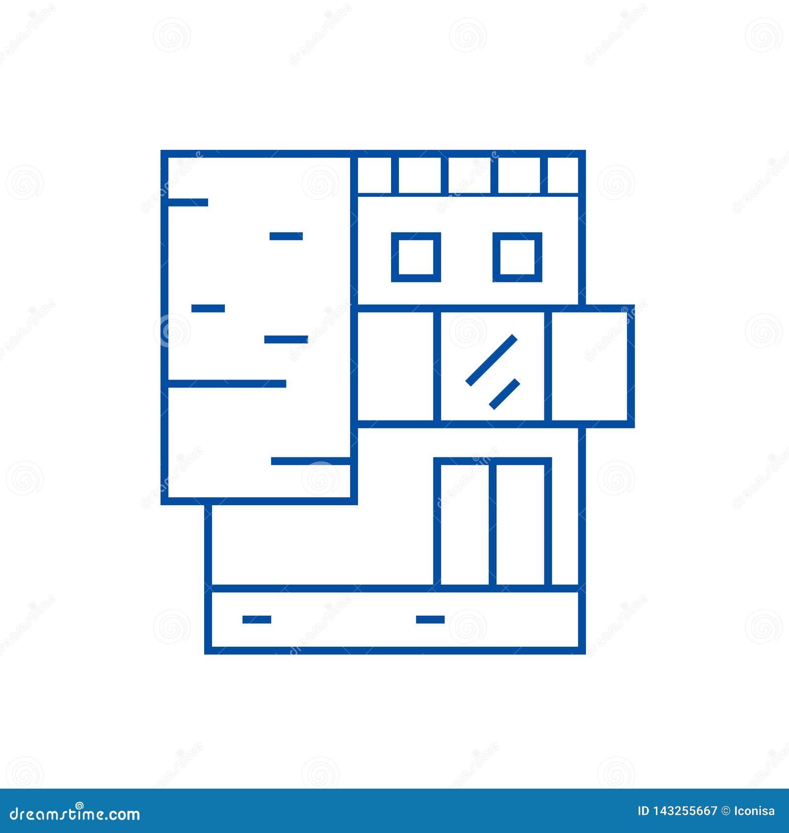 Linha de prédio de escritórios pequena conceito do ícone Símbolo liso do vetor do prédio de escritórios pequeno, sinal, ilustraçã