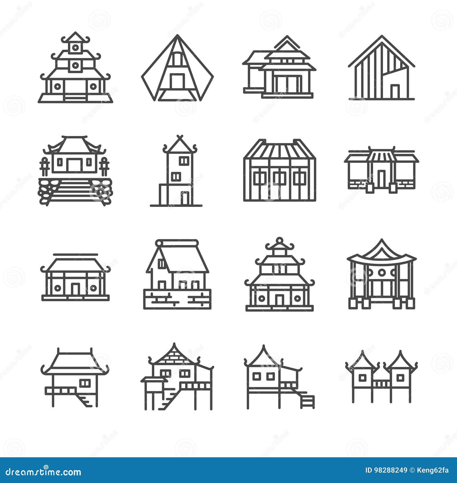 Linha de propriedade asiática grupo do ícone Incluiu os ícones como a casa tailandesa, a casa japonesa, a casa chinesa, o palácio