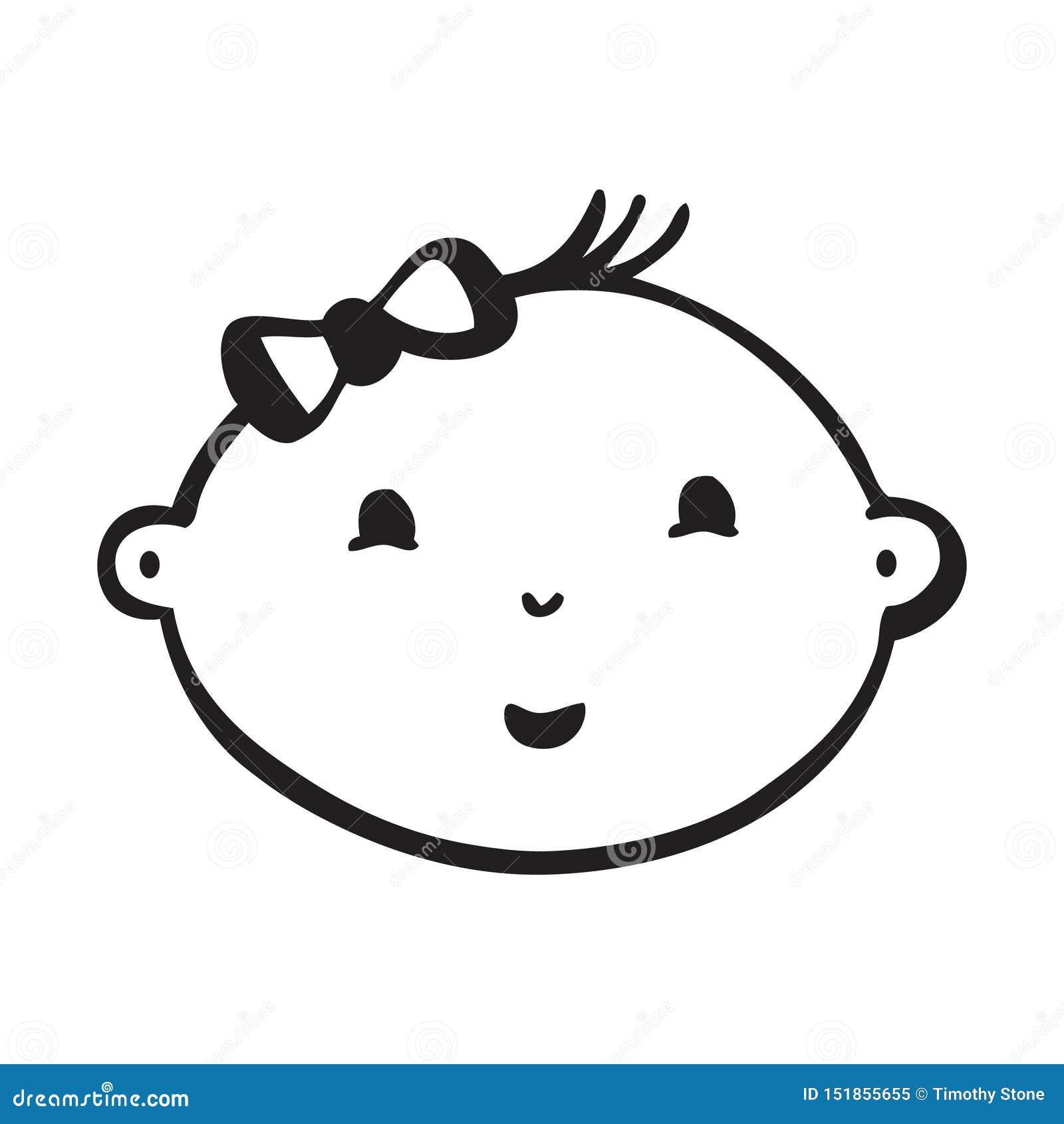 Linha desenho do vetor da cara de sorriso do bebê