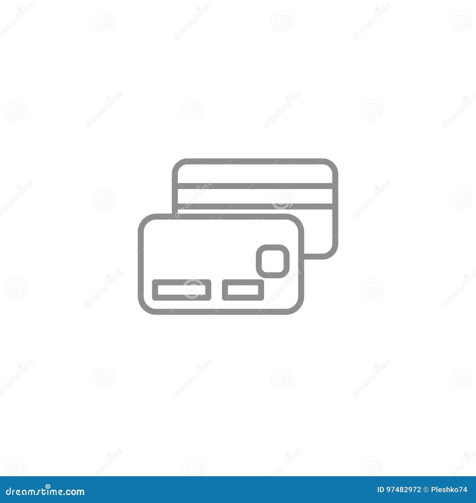 A linha do cartão de crédito do dinheiro dilui o ícone Ilustração em linha do vetor do sinal da compra Negócio e vetor financeiro