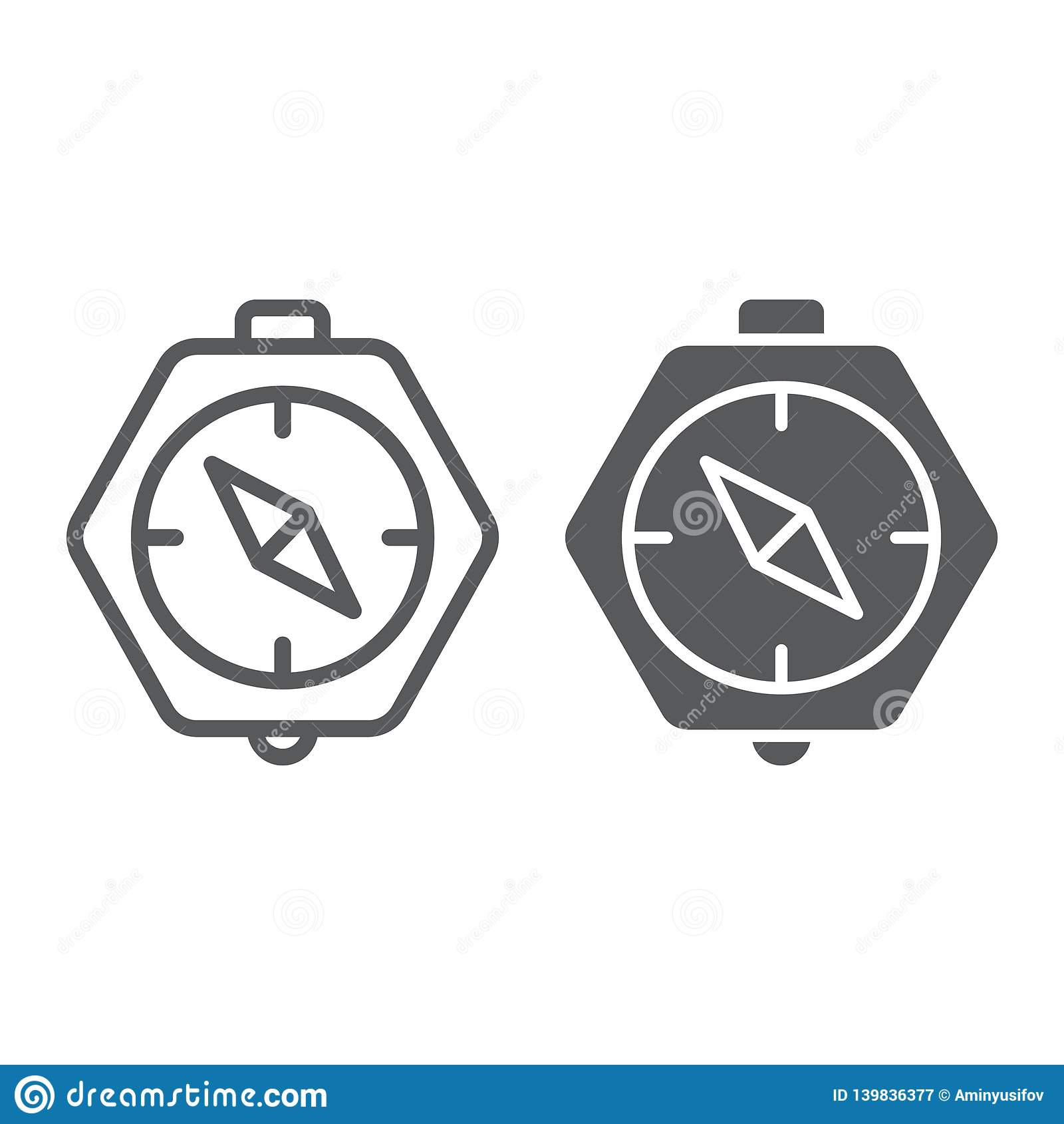 Linha do compasso e ícone do glyph, geografia e sentido, sinal da navegação, gráficos de vetor, um teste padrão linear em um bran