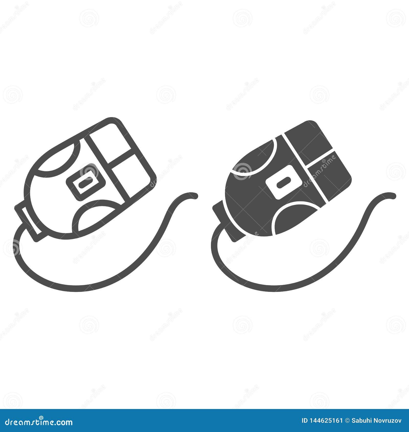 Linha do rato do computador e ícone do glyph Ilustração do vetor do clique isolada no branco Projeto do estilo do esboço do dispo