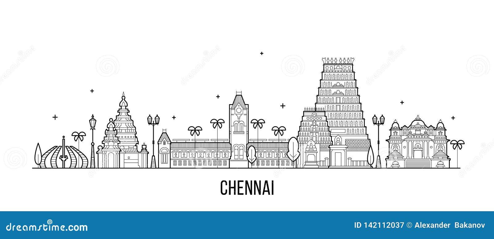 Linha do vetor da cidade da Índia do Tamil Nadu da skyline de Chennai