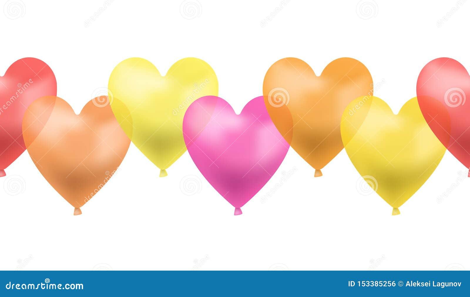 A linha do vetor de coração sem emenda deu forma a balões, cores vermelhas, cor-de-rosa, amarelas, alaranjadas de Brigth, ilustra