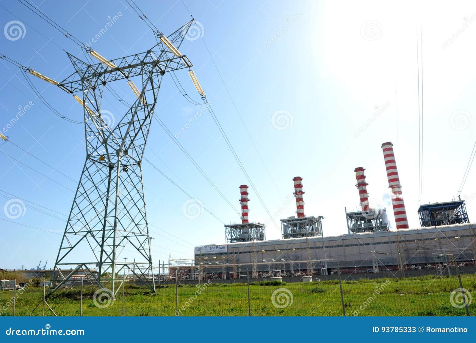 Linha elétrica do central elétrica de Turbogas