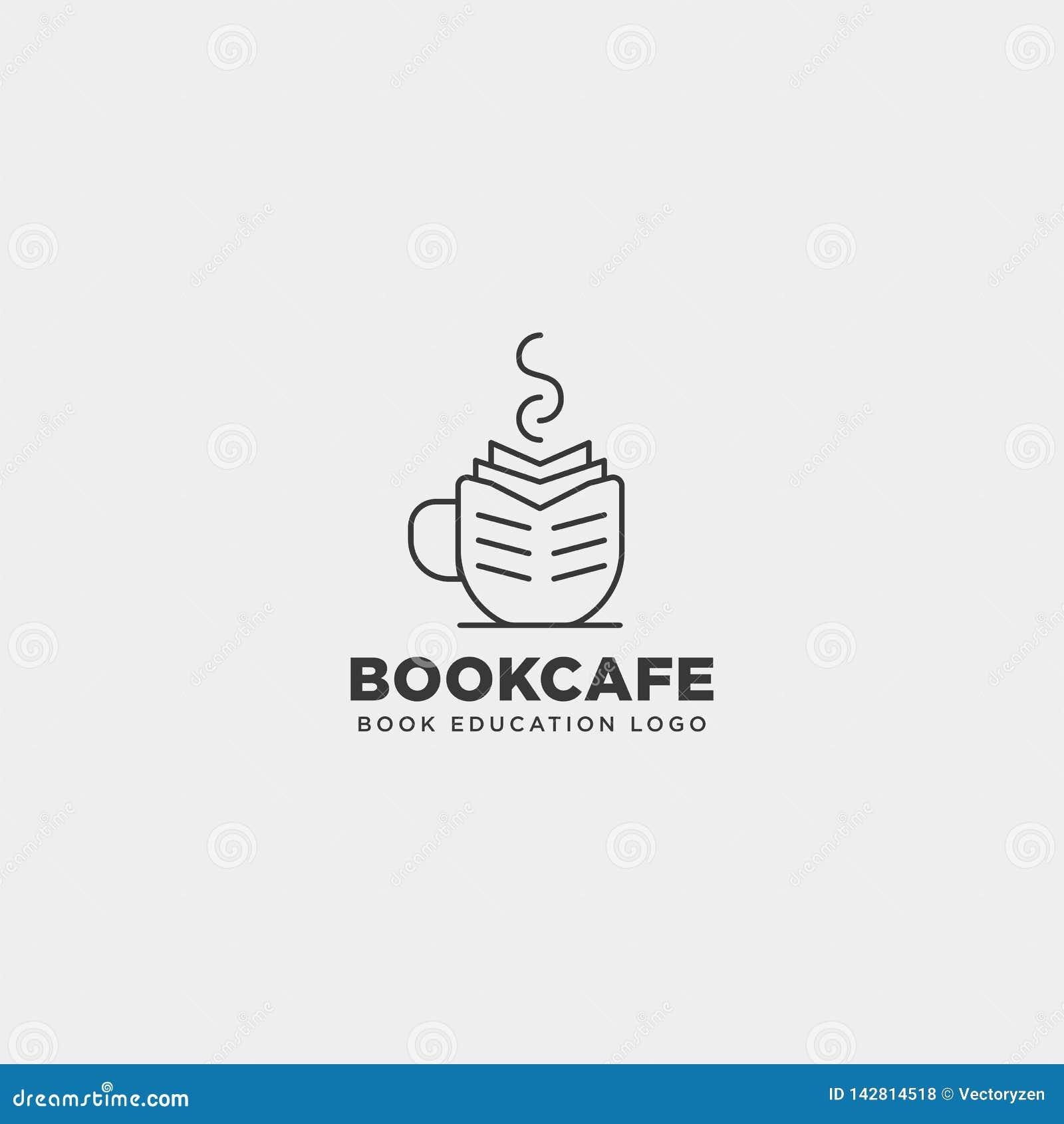 A linha elemento simples da educação do café do copo do livro do ícone da ilustração do vetor do molde do logotipo do preto isolo