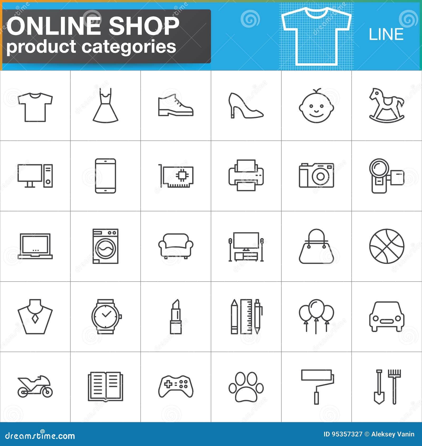 Linha em linha ícones ajustados, coleção das categorias de produto da compra do símbolo do vetor do esboço, bloco linear do picto