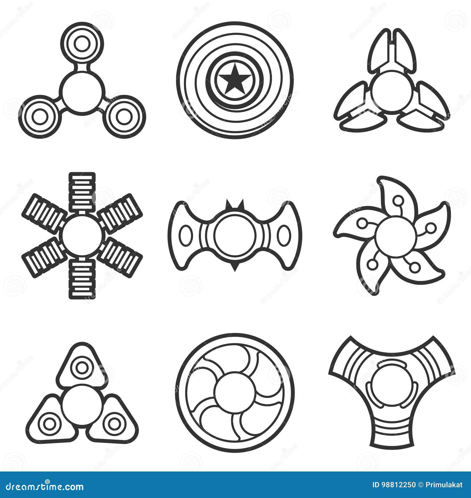 Linha extra grupo do vetor do girador da inquietação da mão do ícone
