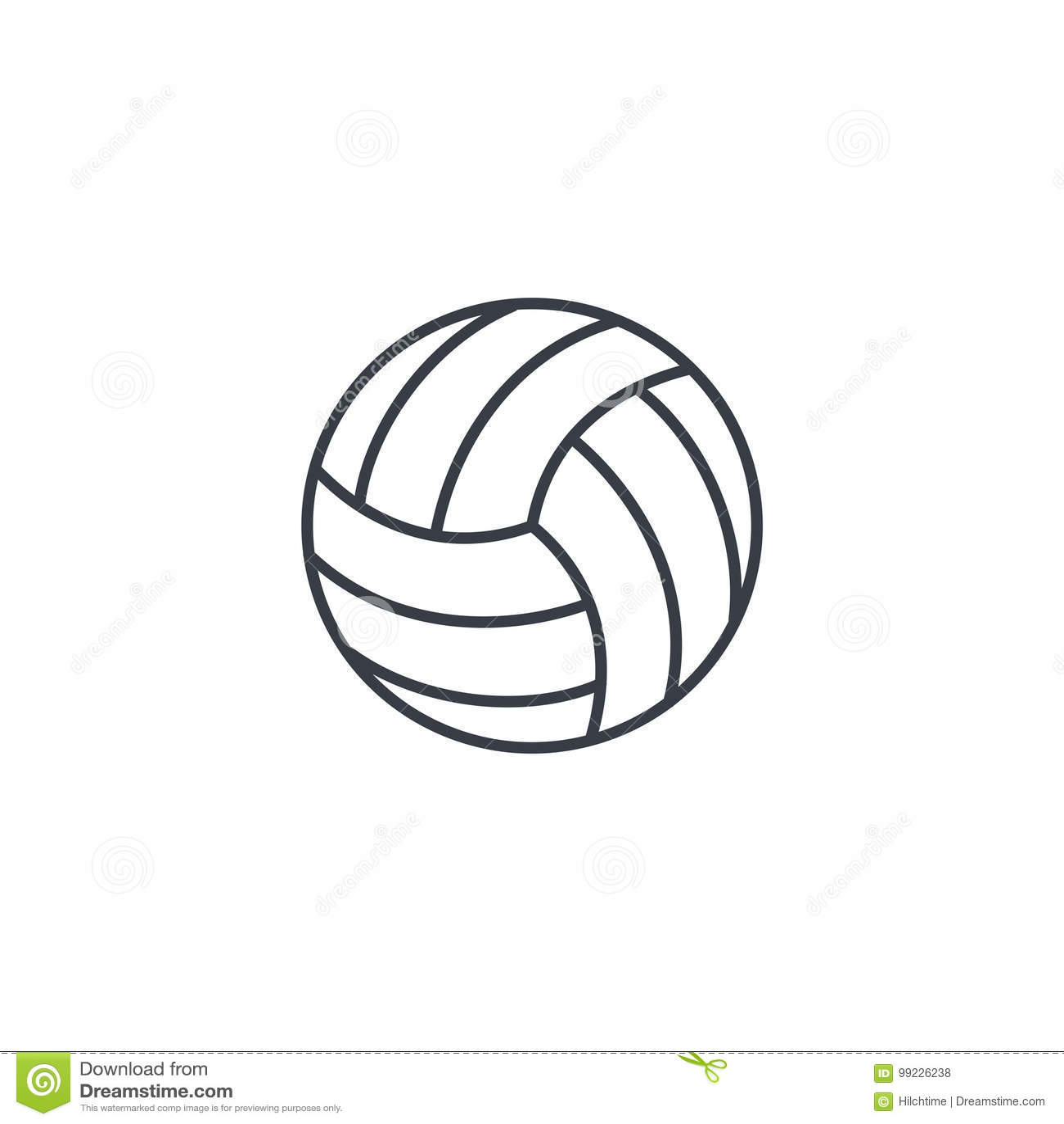 Linha fina ícone da bola do voleibol Símbolo linear do vetor