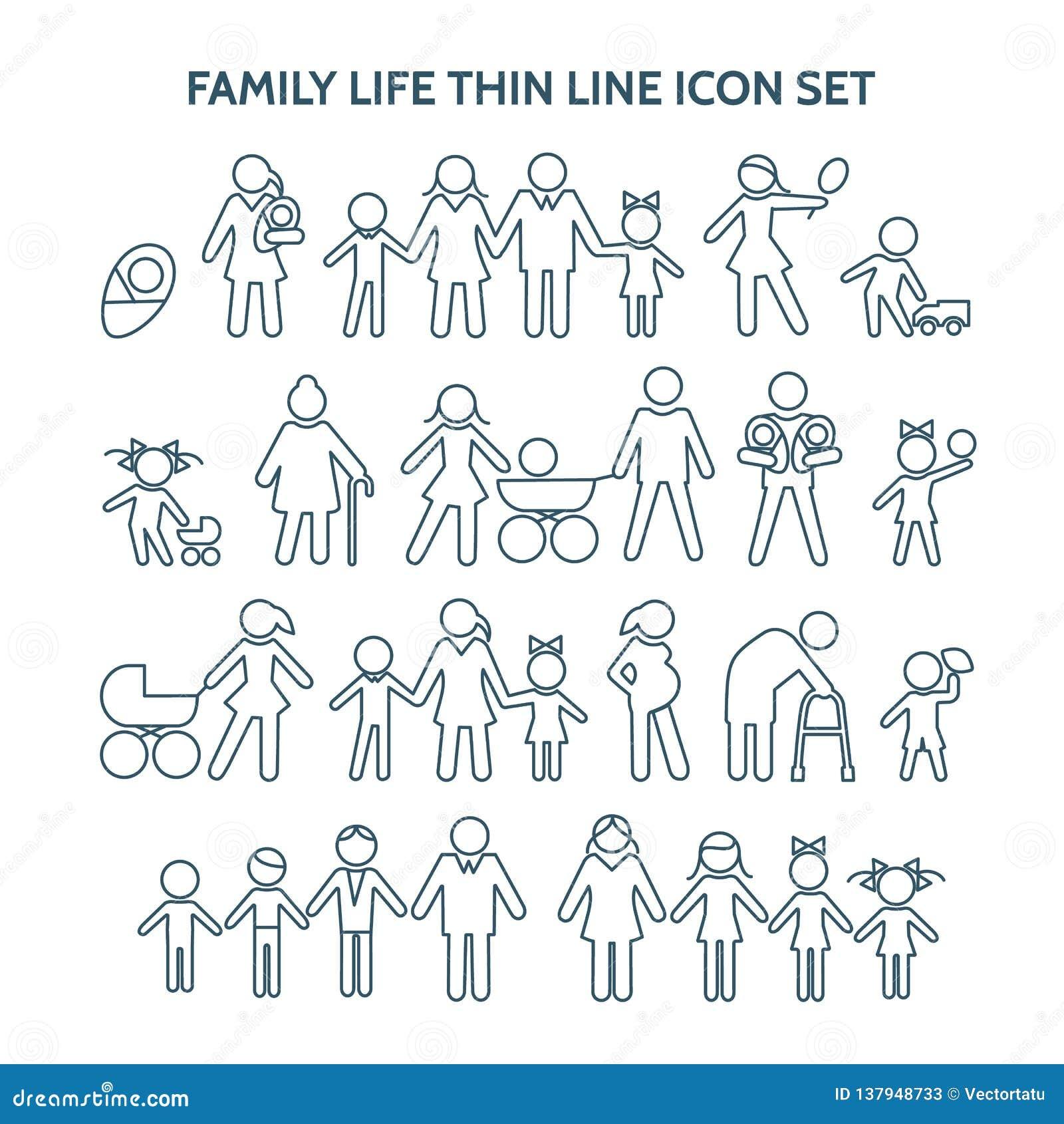 Linha fina ícones da vida familiar