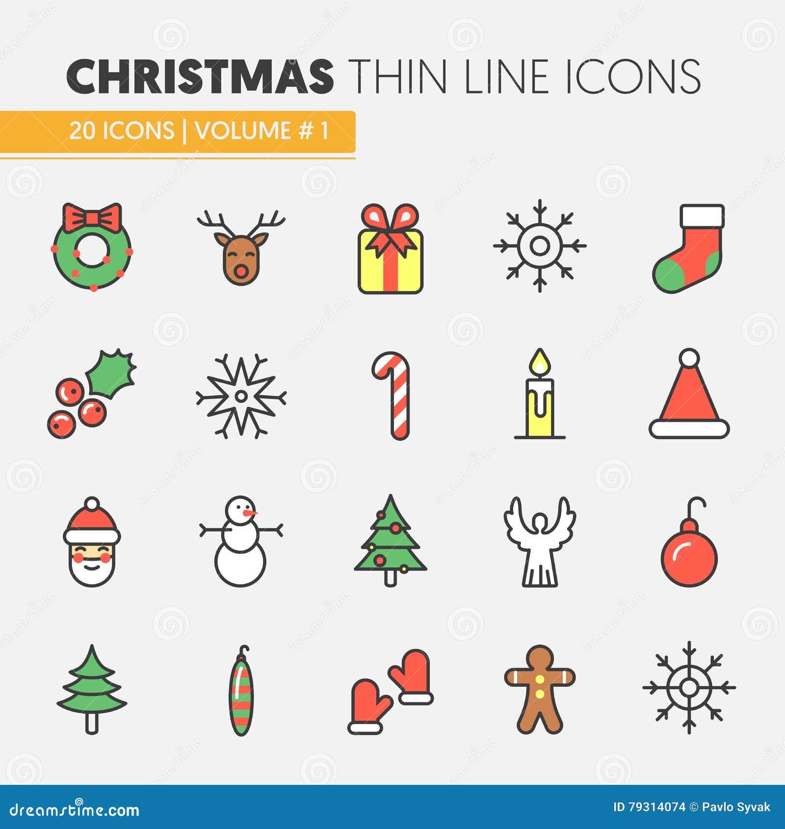 Linha fina ícones do Natal e do ano novo feliz 2017 ajustados com a árvore de Santa Claus Reindeer e de Natal