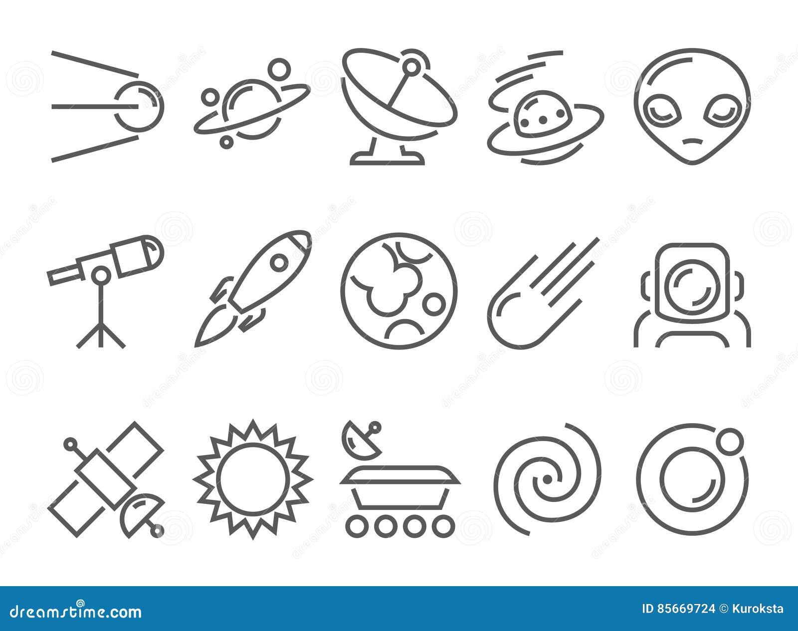 Linha fina ícones lisos do espaço e da astronomia ajustados