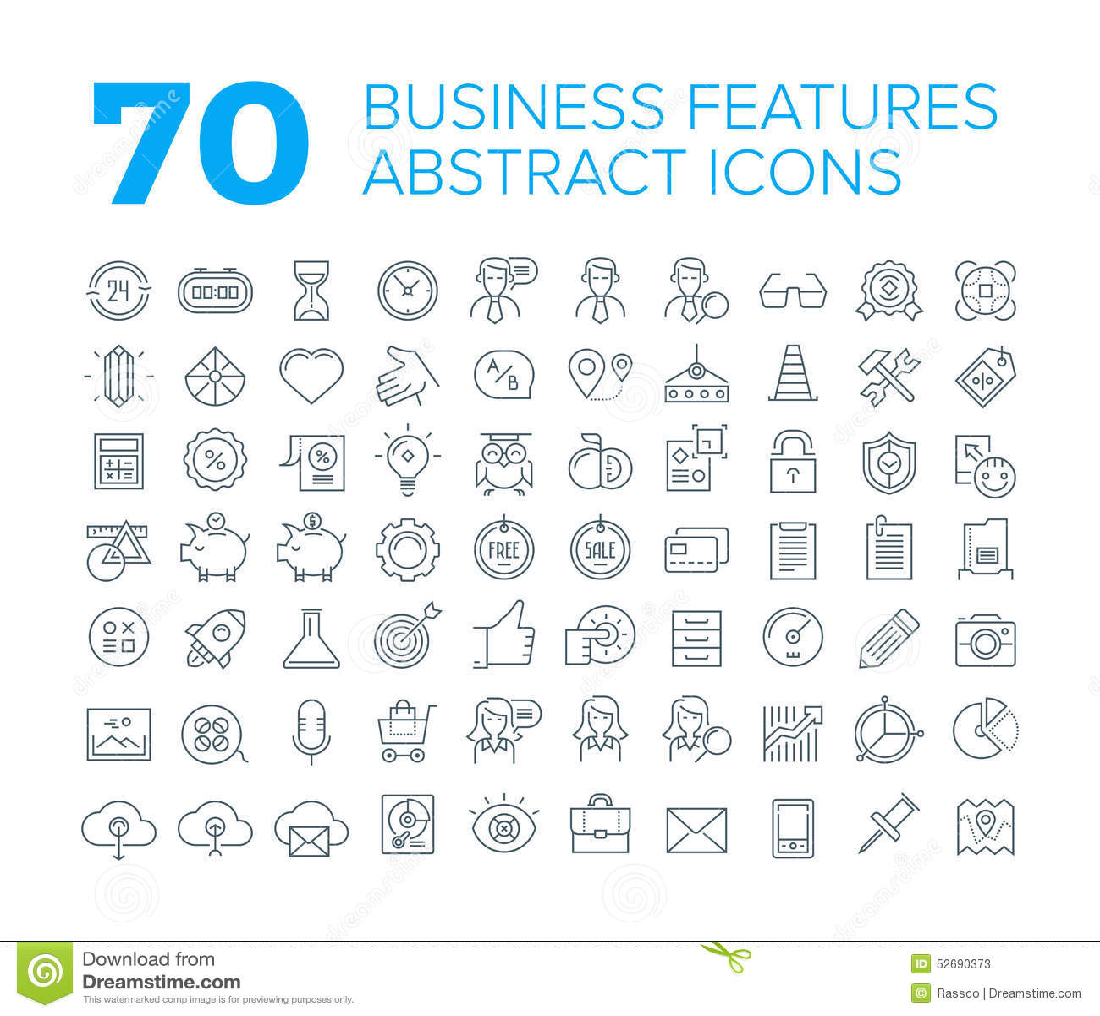 70 linha fina ícones universais do negócio