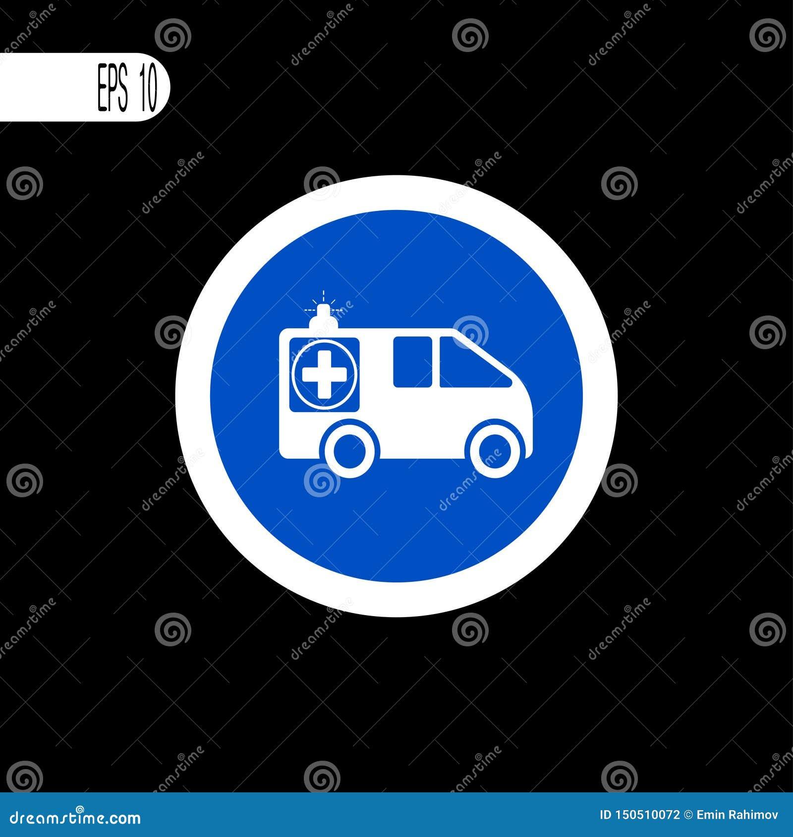 Linha fina branca do sinal redondo Sinal da ambulância, ícone - ilustração do vetor