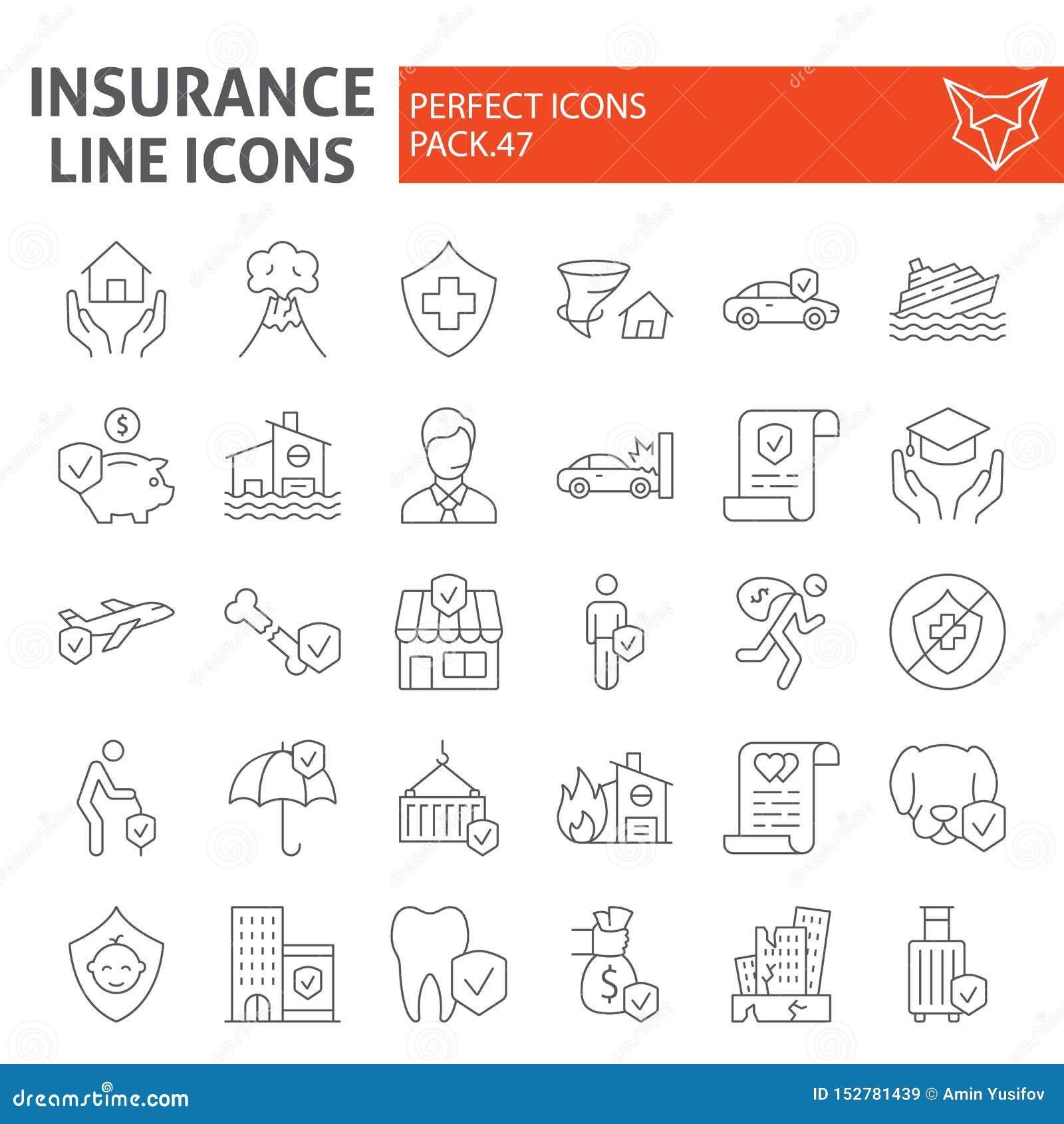 Linha fina grupo do seguro do ícone, símbolos coleção dos cuidados médicos, esboços do vetor, ilustrações do logotipo, vida e neg