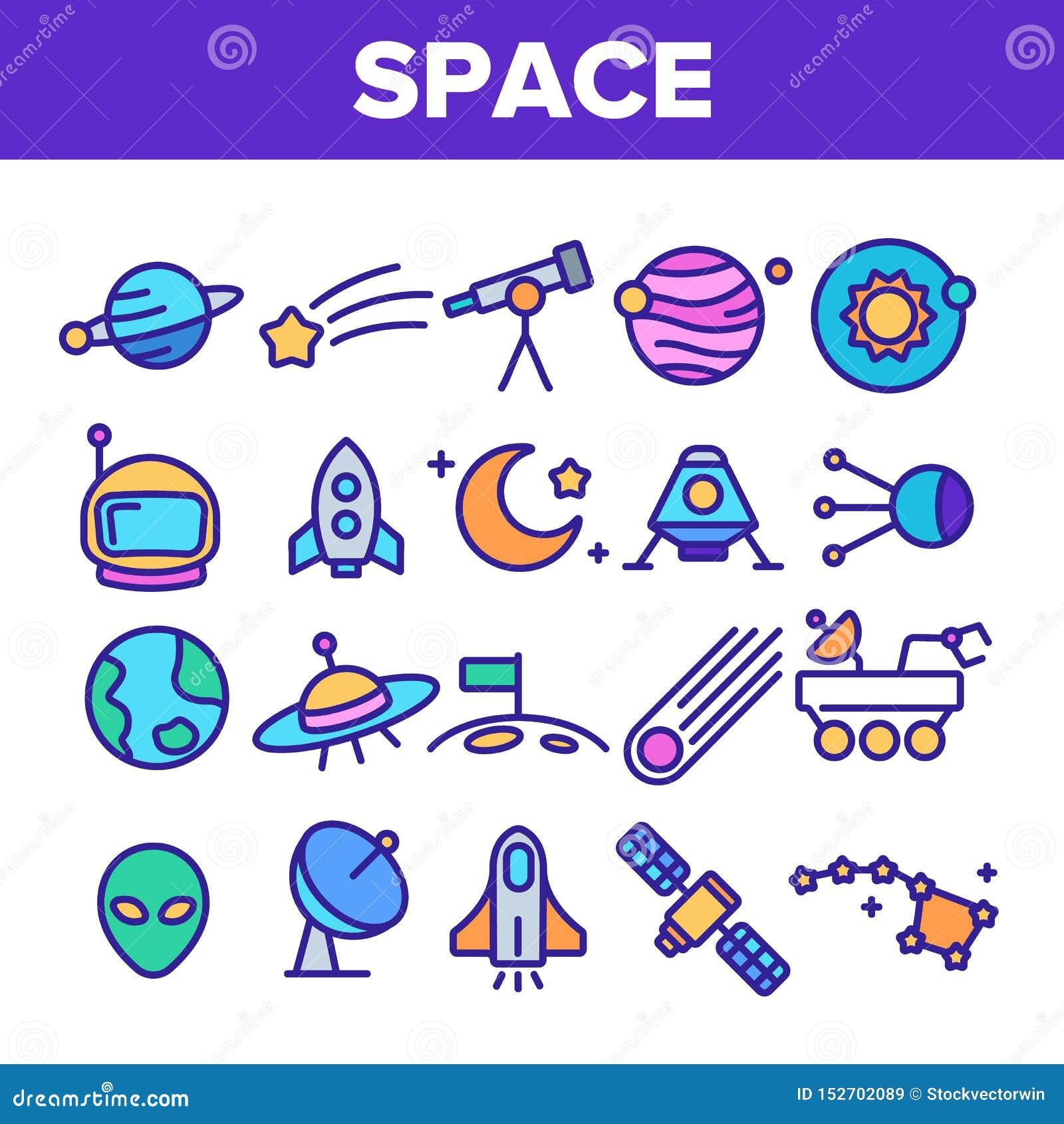 Linha fina grupo do vetor da exploração do espaço dos ícones