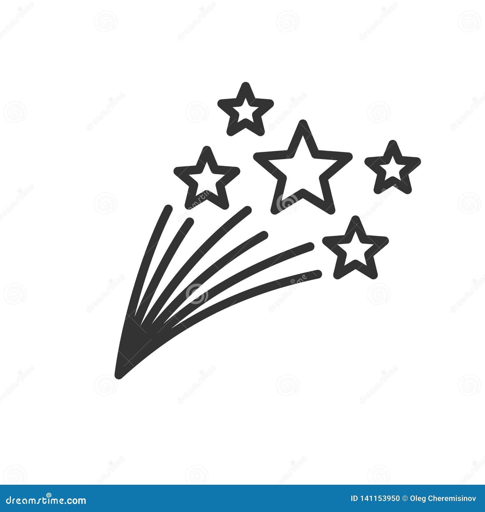 Linha fina ilustração das estrelas de tiro isolada no fundo branco