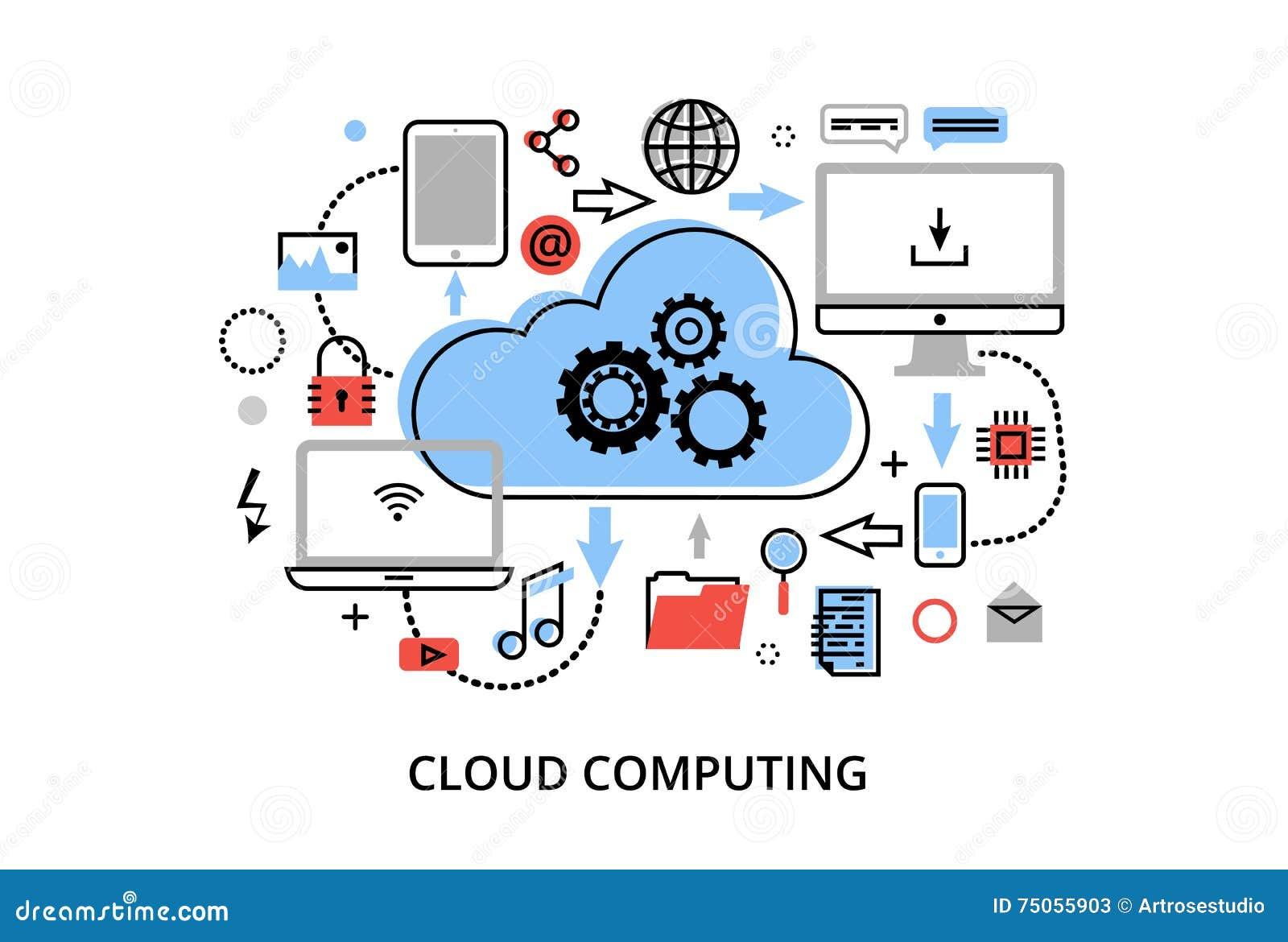 A linha fina lisa moderna ilustração do vetor do projeto, conceito de tecnologias informáticas da nuvem, protege redes informátic