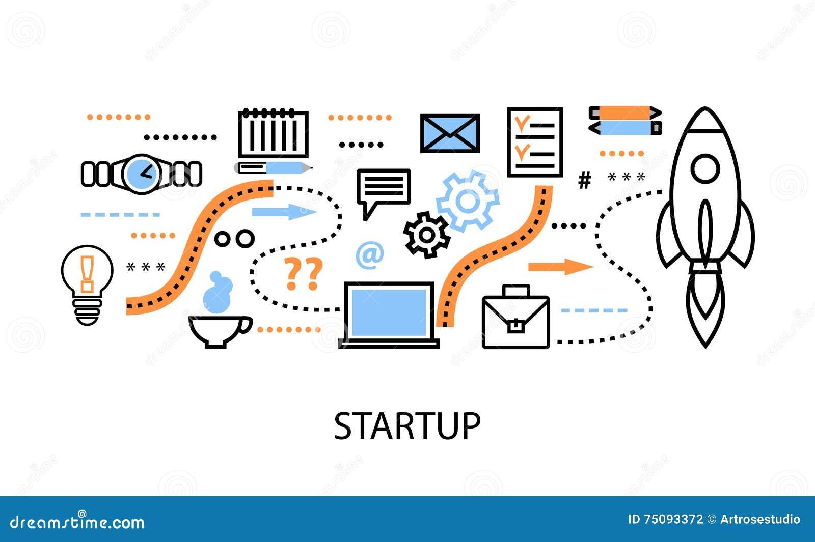 Linha fina lisa moderna ilustração do vetor do projeto, conceitos do desenvolvimento startup do projeto, da estratégia empresaria