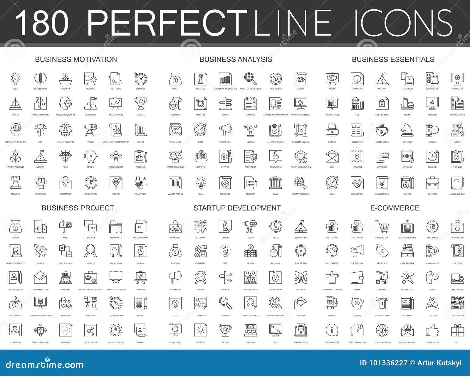180 linha fina moderna ícones ajustados da motivação do negócio, análise, fundamentos do negócio, projeto do negócio, partida