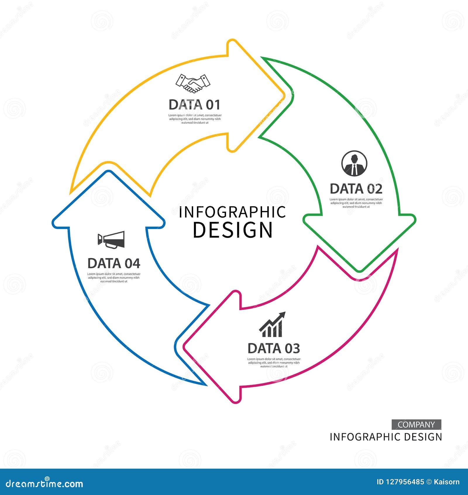 Linha fina molde infographic do negócio das setas do círculo com dat 4